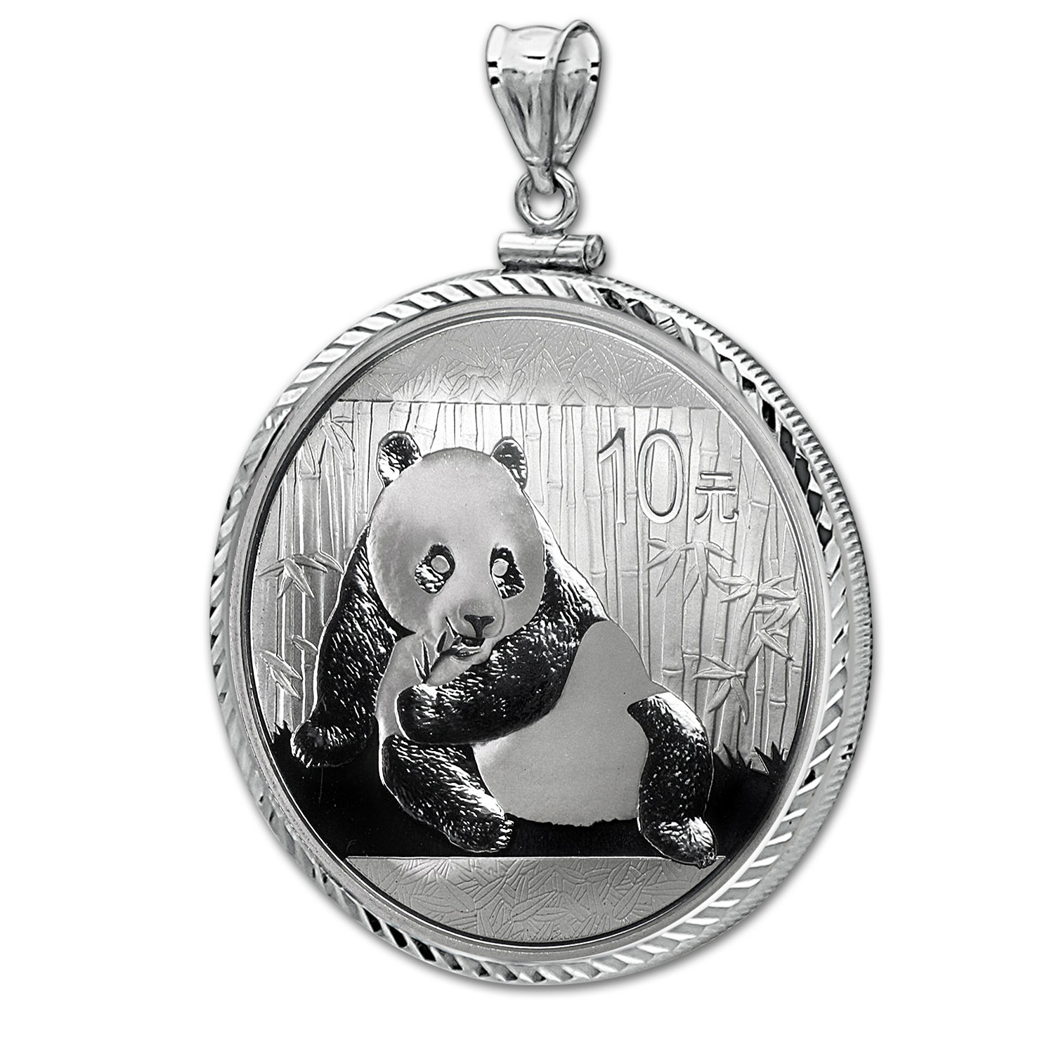 2015 1 oz Silver Panda Pendant (Diamond-ScrewTop Bezel)
